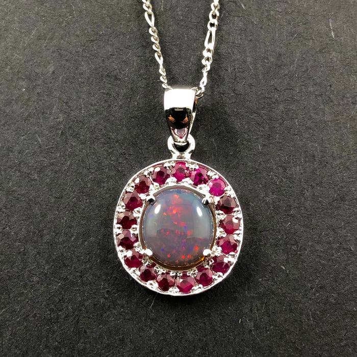 Australian jelly opal and ruby halo white gold pendant necklace