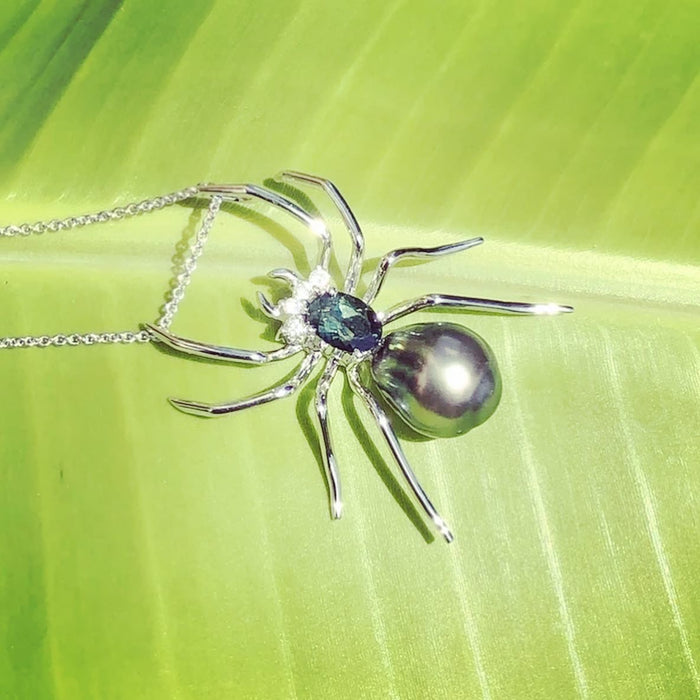 Spider Tahitian pearl diamond sapphire gold pendant necklace