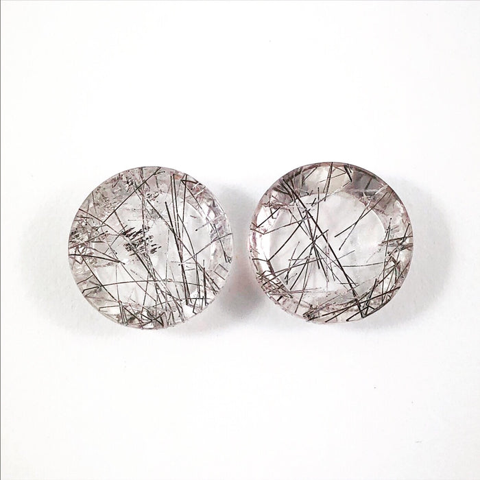Tourmilated rock quartz round cut matched cabochon pair 22.75 carats total - Only with custom order