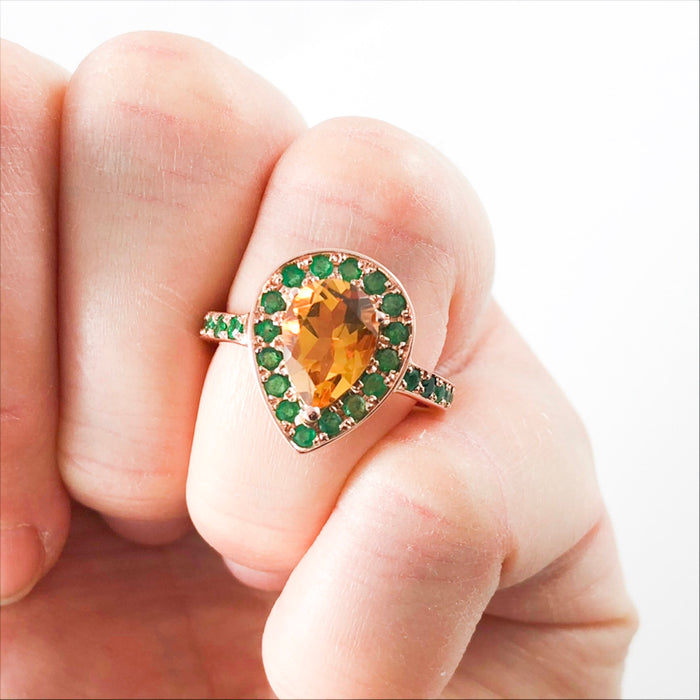 Citrine pear and emerald halo rose gold alternative engagement ring - Ready to ship or resize