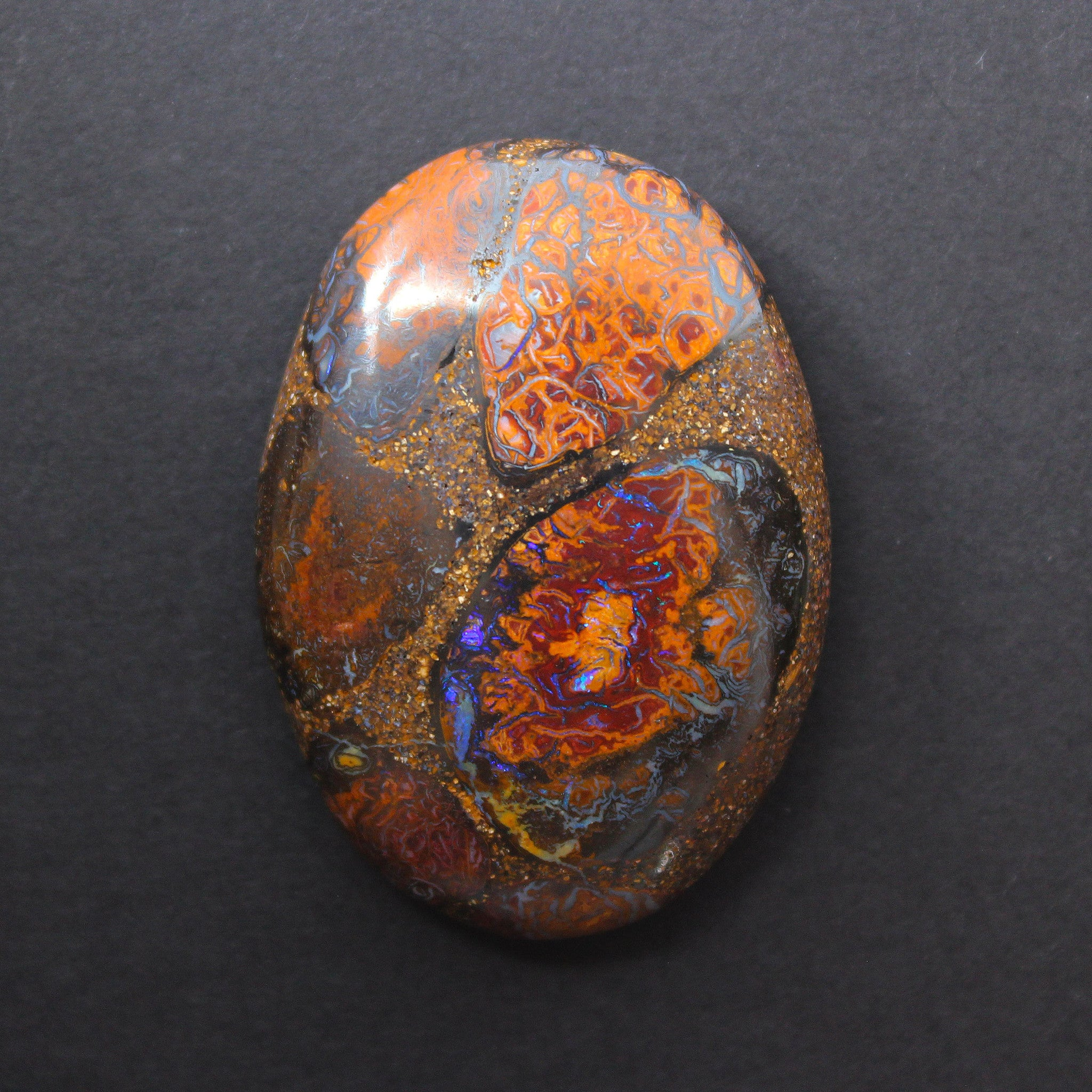 Australian boulder opal from Lightning Ridge polished cabochon CLICK HERE - Sarah Hughes - 1