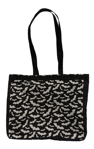 Black Bats Print Tote Bag