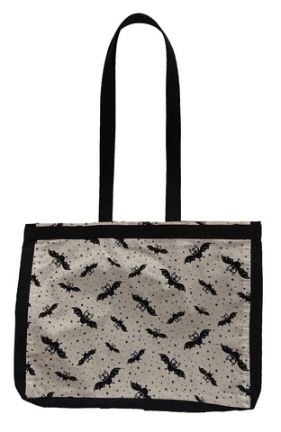 White Bats Print Tote Bag