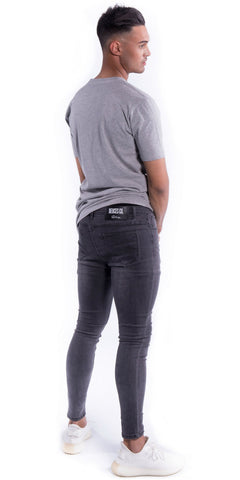 Super Slim Fit Jeans (No Rips) - Grey