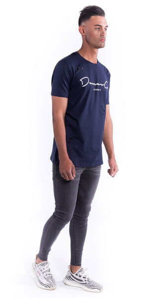 Original Staple Tee (Ripped) - Navy Blue