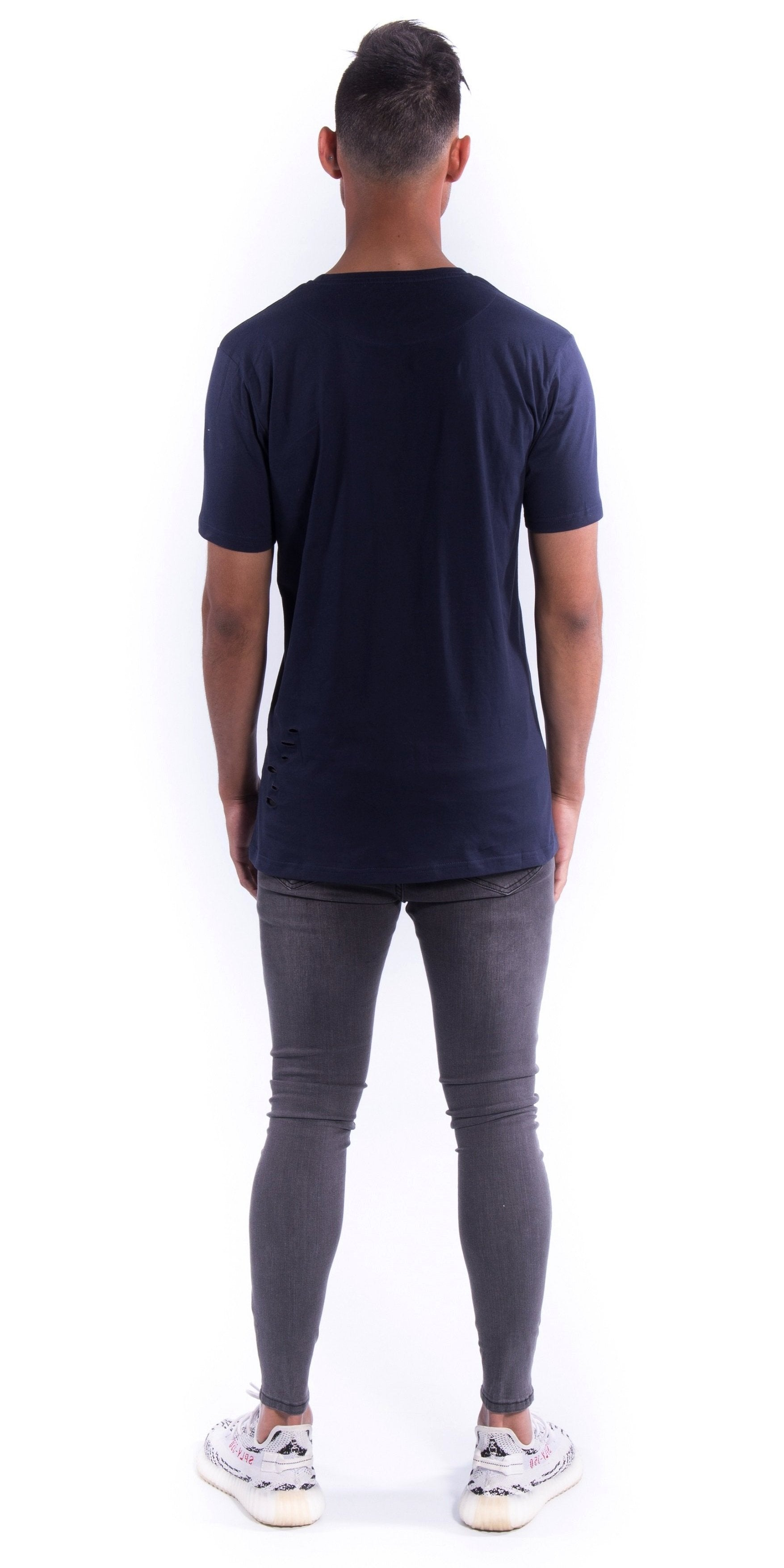Navy Blue Deuces Co Ripped Original Staple Tee Back