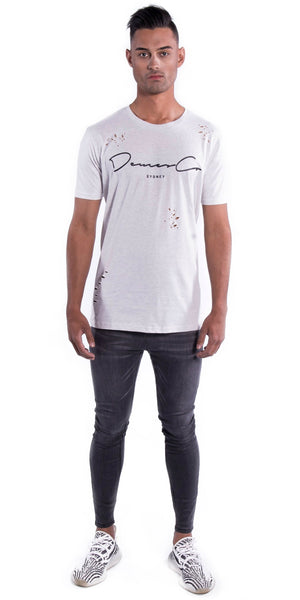 Original Staple Tee (Ripped) - Light Grey