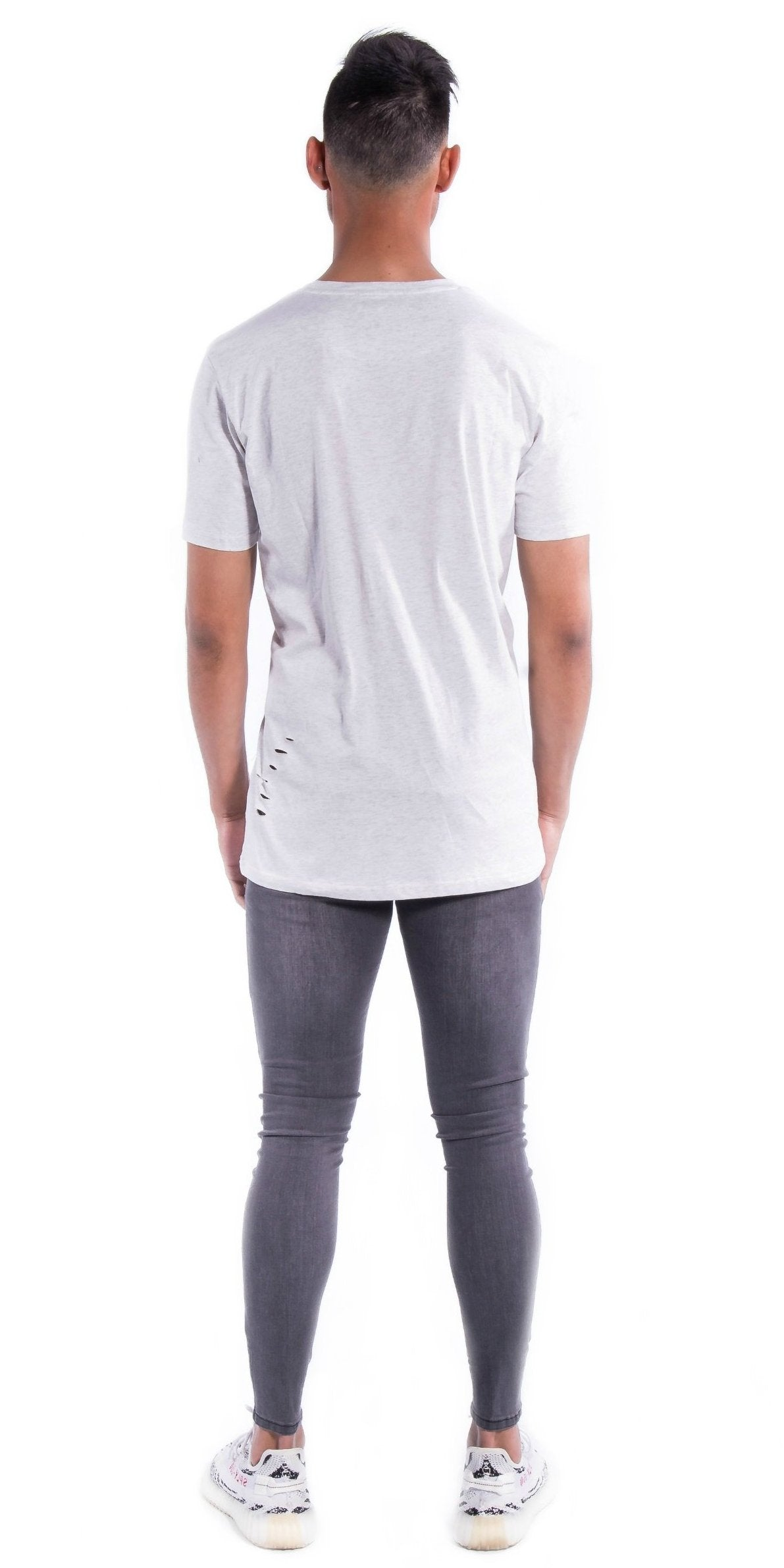 Light Grey Deuces Co Ripped Original Staple Tee Back