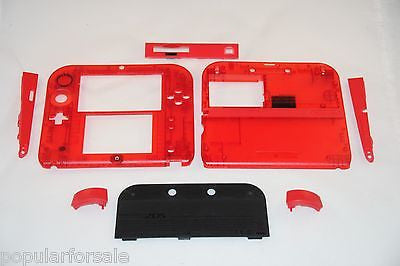 Limited Edition Nintendo 2DS Crystal Clear Full Shell Housing Replacement Red - Popular for Sale  - 1