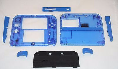 Limited Edition Nintendo 2DS Crystal Clear Full Shell Housing Replacement Blue - Popular for Sale  - 1