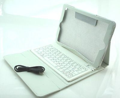 Apple iPad Air 5th Gen Wireless Bluetooth Keyboard Leather Case Cover White - Popular for Sale  - 1