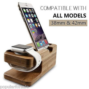 APPLE WATCH STAND iWATCH WOOD CHARGING STAND BRACKET DOCKING STATION 38MM / 42MM - Popular for Sale  - 4