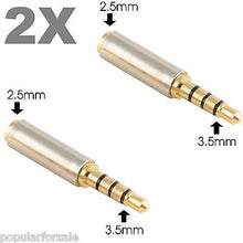 Load image into Gallery viewer, 2X Gold 3.5mm Male to 2.5mm Female Stereo Audio Headphone Jack Adapter Converter - Popular for Sale  - 1
