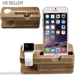 APPLE WATCH STAND iWATCH WOOD CHARGING STAND BRACKET DOCKING STATION 38MM / 42MM - Popular for Sale  - 1