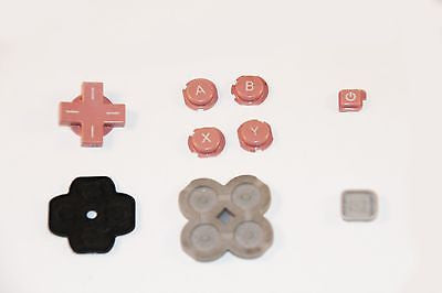 Original Official Authentic Nintendo 3DS Part Pink Button Set & Rubber Pad - Popular for Sale