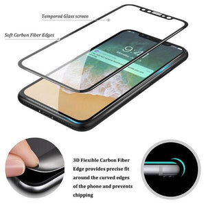 3D Full Cover Tempered Glass Carbon Fiber Screen Protector For iPhone X , 10