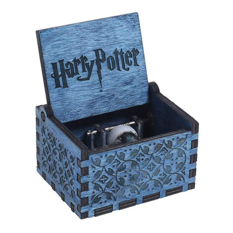 Harry Potter Engraved Wooden Hand-cranked Music Box Interesting Toys Gifts Blue