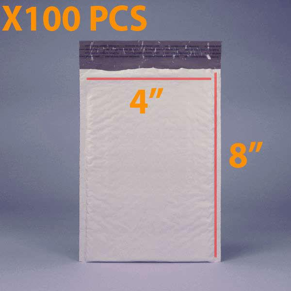 100 PCS 4 X 8 White Plastic Bubble Mailing Envelopes Water-resistant self-seal