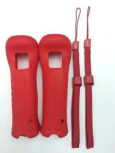 2X OEM NINTENDO WII REMOTE CONTROLLER RED SILICONE SKIN COVER WITH WRIST STRAP