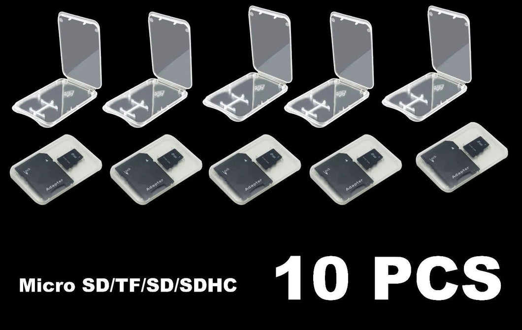 10 Transparent Standard SD SDHC Memory Card Case Holder Box Storage Plastic NA