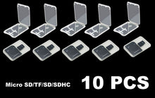 Load image into Gallery viewer, 10Pcs Micro SD SDHC Memory Card Case Holder Box Storage Hard Plastic Transparent