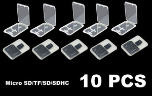 10Pcs Micro SD SDHC Memory Card Case Holder Box Storage Hard Plastic Transparent