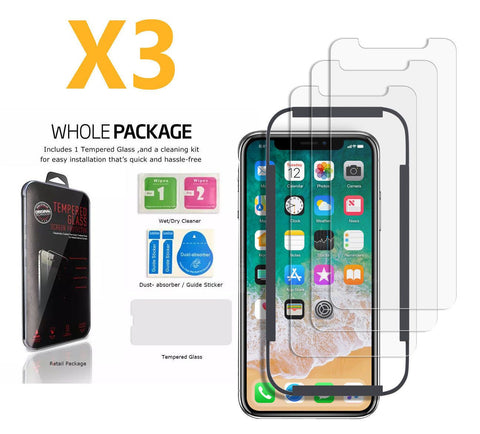 [3-Pack]  Tempered Glass Screen Cover Protector Saver For Apple iPhone X