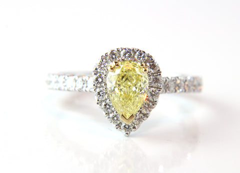 Campbell Jewellers Internally Flawless Pear Cut Yellow Diamond Engagement Ring