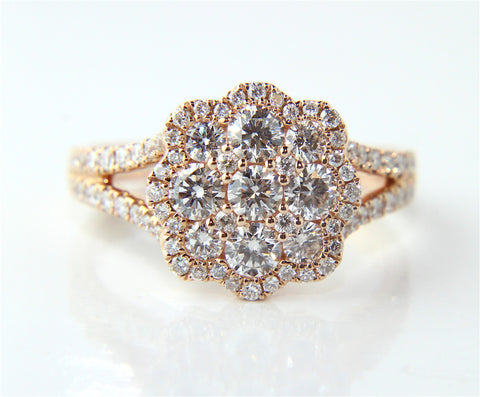 Rose Gold Diamond Cluster Engagement Ring