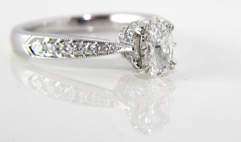 Vintage Style Oval Diamond Engagement Ring Campbell Jewellers Dublin