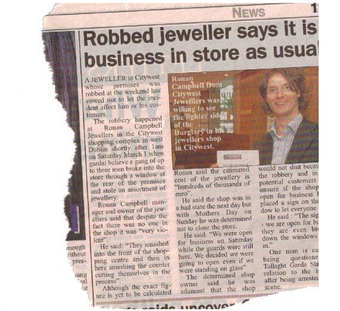 Jeweller robbed though business as usual