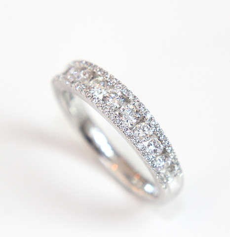 Platinum Three Row Diamond Ring Channel & Pave Set - Campbell Jewellers  - 1
