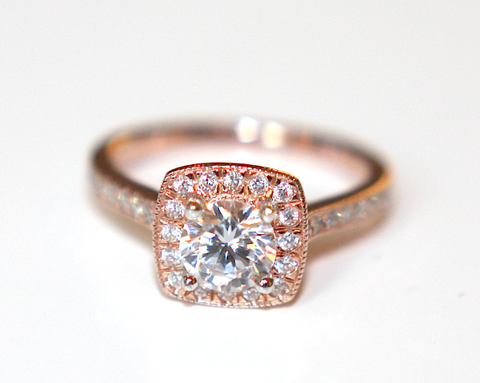 Rose Gold GIA Certified Classic Halo Diamond Engagement Ring - Campbell Jewellers  - 1