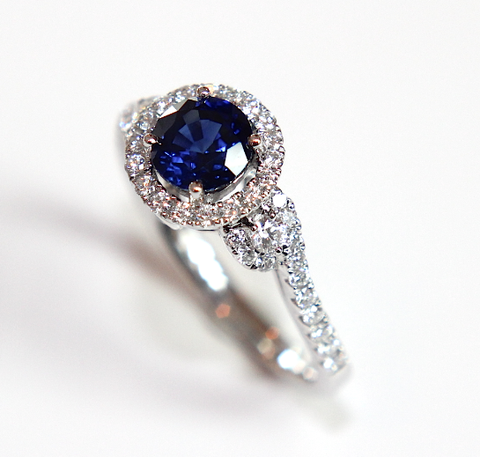 Platinum Modern Twist Halo Blue Sapphire & Diamond Engagement Ring (1.22ct total) - Campbell Jewellers  - 1