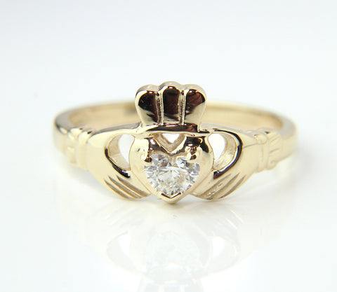 14ct Yellow Gold Heart Shape Diamond Claddagh Ring
