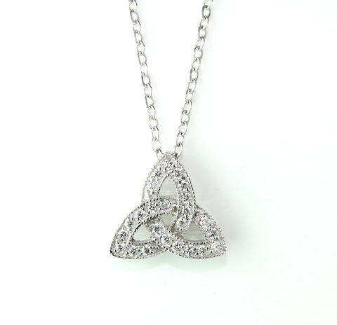 14ct White Gold & Diamond Trinity Knot Necklace