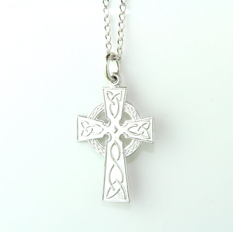 14ct White Gold Medium Trinity Knot Celtic Cross