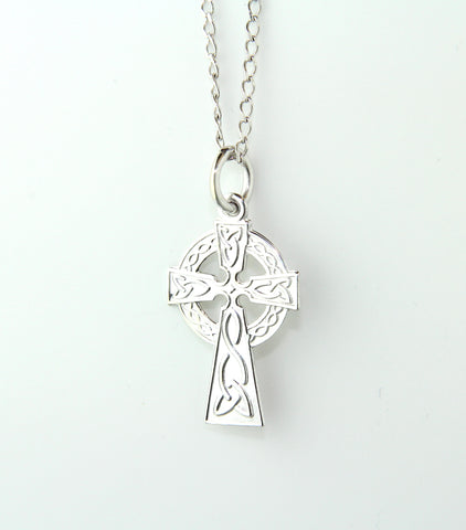 14ct White Gold Small Trinity Knot Celtic Cross