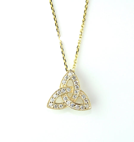 14ct Yellow Gold & Diamond Trinity Knot Necklace