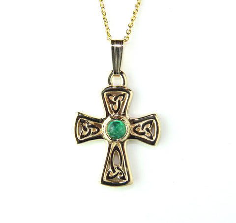 14ct Yellow Gold & Emerald Trinity Knot Necklace