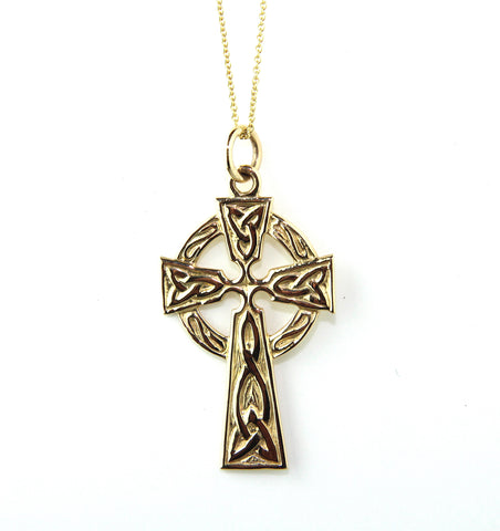 14ct Yellow Gold Large Trinity Knot Celtic Cross