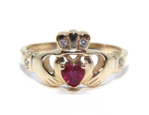 14ct Yellow Gold Ruby & Diamond Claddagh Ring | Campbell Jewellers