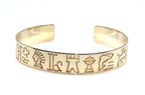 14ct Yellow Gold Images of Ireland Unisex Bangle | Campbell Jewellers
