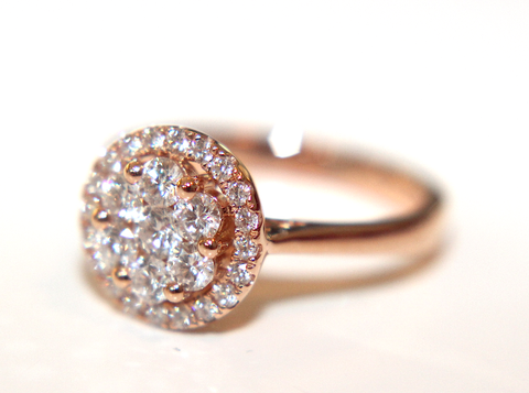 Campbell Rose Gold Halo Cluster Diamond Engagement Ring 0.75ct - Campbell Jewellers  - 1