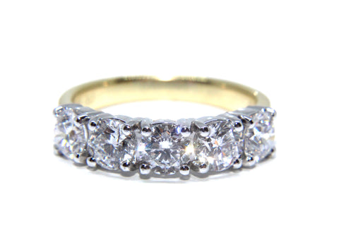 Campbell 18ct Gold Round Brilliant Five Diamond Ring 2.04ct