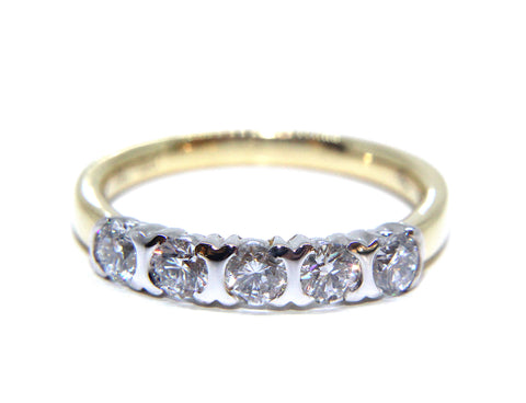 Campbell 18ct Gold Round Brilliant Five Diamond Ring 0.70ct