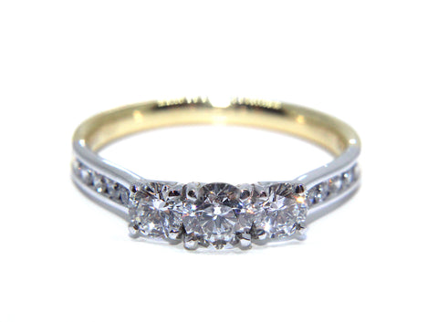 Campbell 18ct Gold Round Diamond Trilogy Engagement Ring 0.89ct