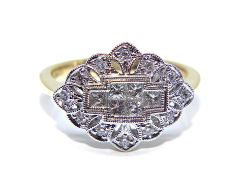 Campbell 18ct Gold Vintage Inspired Diamond Ring 0.54ct
