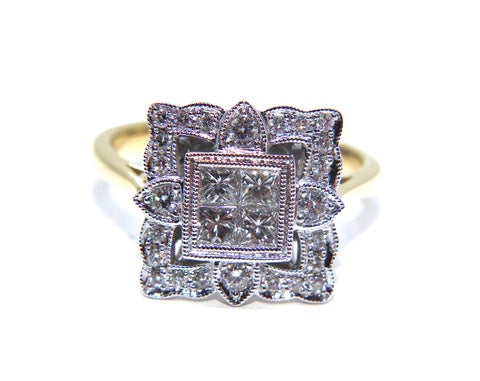 Campbell 18ct Gold Vintage Inspired Diamond Ring 0.69ct