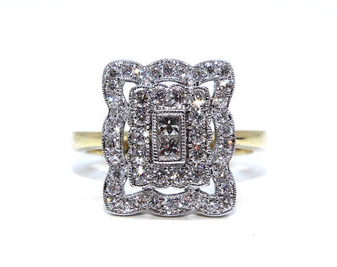 Campbell 18ct Gold Vintage Inspired Diamond Ring 0.74ct